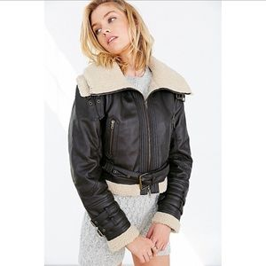 BDG Brown Faux Sherpa leather jacket